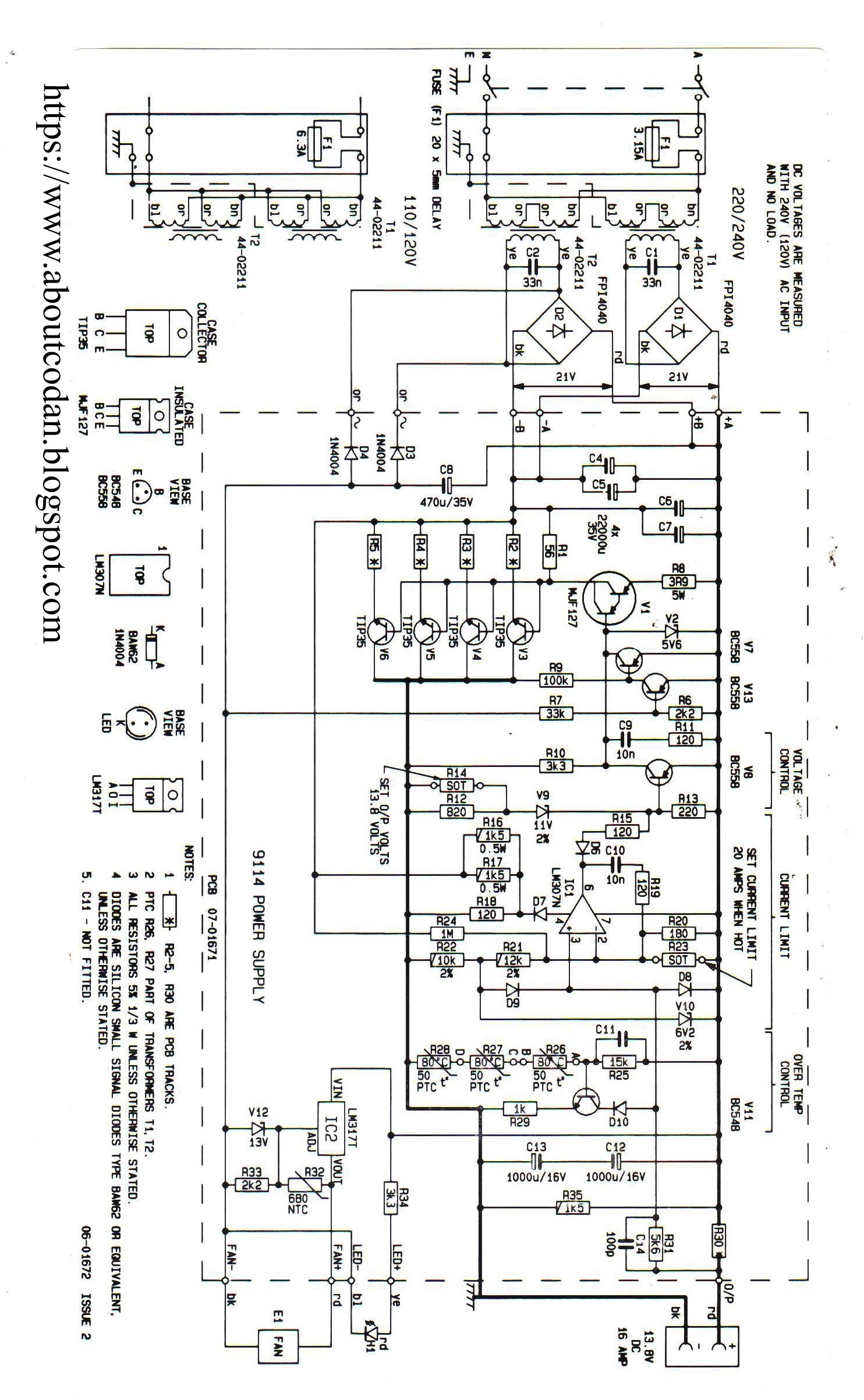 Codan Power Supply Schematic Wiring Diagram Master Blogs Lm338 Adjustable Circuit 9114b Rh Radioscanner Ru 12 Volt