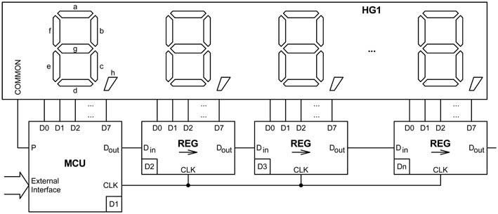 Микроконтроллер D1, работающий