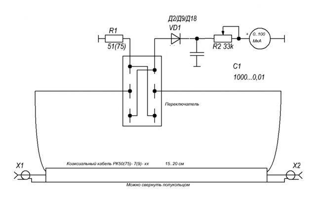 Вот схема КСВ-метра для КВ